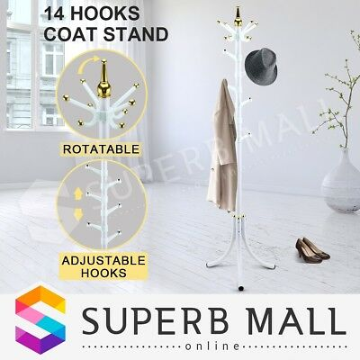 Tree style Metal Coat Rack Stand Hat Bag Clothes Umbrella 14 Hooks White