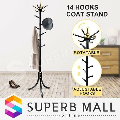 Black 14 Hooks Tree style Metal Coat Rack Stand Hat Bag Clothes Umbrella