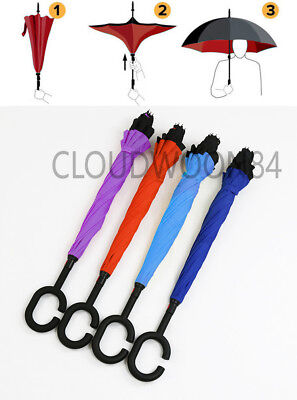 C-Handle Double Layer Inverted Reverse Hand-free Upside Down Umbrella Windproof