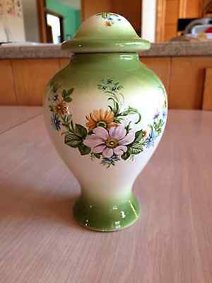 Vintage Ceramic Ginger Jar--Green accents with floral pattern