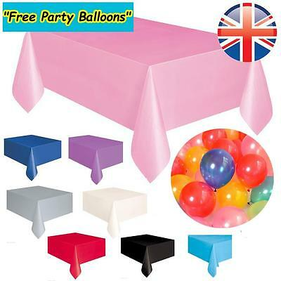 *UK Seller* Plastic Tablecovers Tablecloth Cover Party Events Tablewear 9 Colour