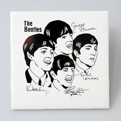"** The Beatles Rare Vintage Ceramic Wall Tile Made England 1963 4.25"" Square **"