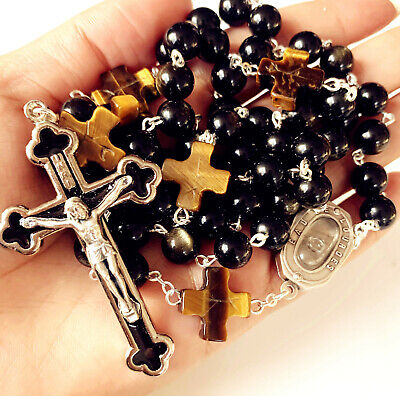 Catholic 10MM GOLD Black Obsidian BEAD Lourdes Water Mens ROSARY CROSS NECKLACE