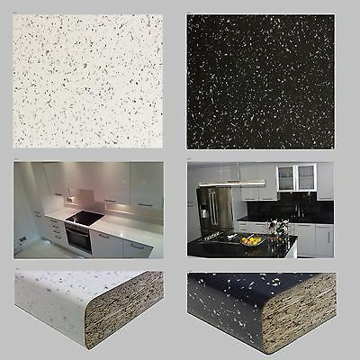 LAMINATE KITCHEN WORKTOPS WORKTOP 3m 4.1m x 600mm  - Black White Sparkle Spark