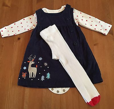 Marks And Spencer Baby Girl Pinafore Dress, Vest And Tights Set 0-3 Months