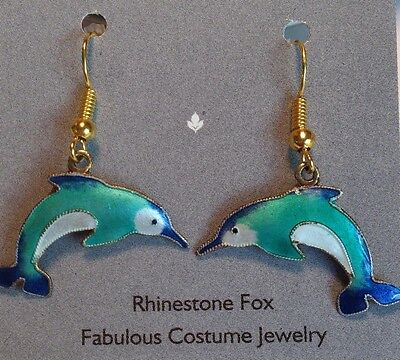 Vintage Enamel Dolphin Earrings