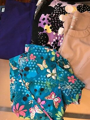 Lot Of 4 Scrub Tops Size Small