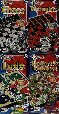 Traditional travel mini pocket games - chess, ludo, draughts, snakes and ladders