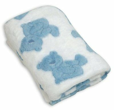 Stephan Baby Pot-Bellied Bear Ultra Soft Plush Fleece Blanket, Blue 064430