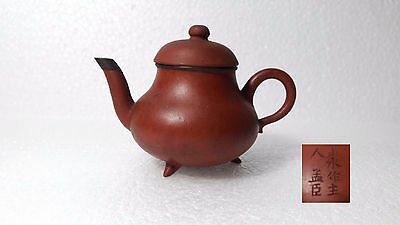 Rare 19Th C Chinese Yixing Zisha Antique Clay Pottery Teapot With  Tiny Legs
