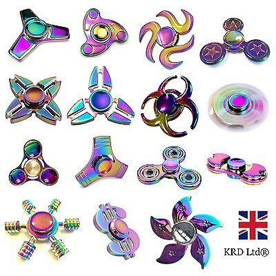 RAINBOW EDC Hand Spinner Tri Fidget Focus Desk Toys Anti Stress Colorful Gyro UK