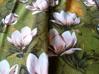 "VINTAGE LINEN Pair of Heavy Curtains 1970's Fab Floral Pattern 82"" D x 44"" W"