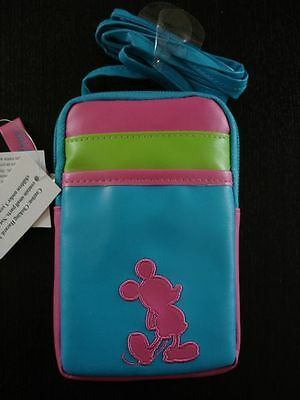 Disney Parks Mickey Mouse Smartphone Case Blue/Green/Pink W/ Shoulder Straps New