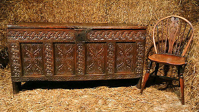 Early 17th Century Joined Elm Four Panel Guillouche Carved Coffer c.1610