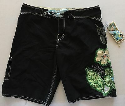 ROXY Quiksilver Embroidered Floral Board Shorts Bermuda Swim Boho Surfing 7 NWT