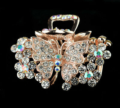 jewelry women hair extension crystal rhinestone barrette clip comb butterfly pin