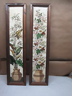 """Antique Victorian English Tiles """"Wild Roses"""" Framed 32"""" Tall"""