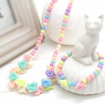 Girls Kids Children Colorful Flower Necklace Bracelet Set Easter Birthday Gift