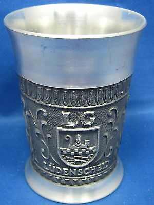 "4"" Antique German Solid Pewter Embossed & Engraved  Cup 3 Beautiful Scenes Nice"