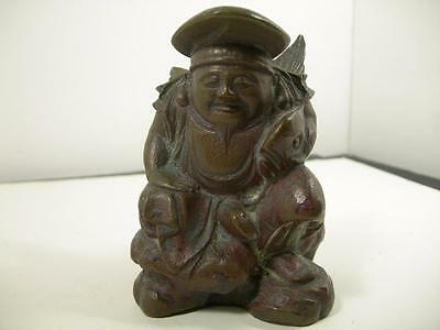 Vintage Bronze Figurine Statue Asian Chinese Fisherman Carrying Fish