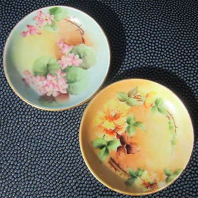 2 D & Co FRANCE HANDPAINTED PORCELAIN BUTTER PATS GOLD GILT YELLOW ROSES FLOWERS