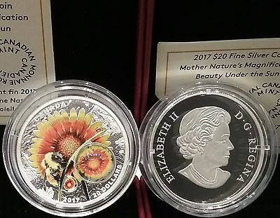 2017 Mother Nature's Magnification Beauty Bee Under Sun $20 Silver Coin Canada