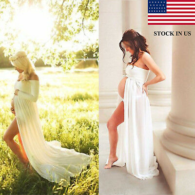 Chiffon Gown Maternity Maxi Wedding Party Dresses Photography Multi Style US NEW