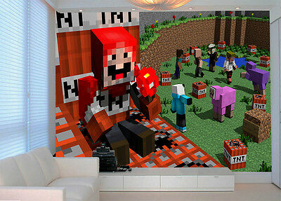 HQ Wall Mural Red Minecraft Games Art 3D Photo Wallpaper Kids Room 110