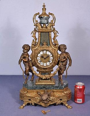 *Large Vintage Rococo Bronze & Marble Clock w/ Figural Centaurs