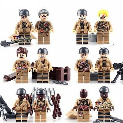 12 Pcs Military Mini Figures NEW UK Seller Fits Lego Army Soldiers Zombies