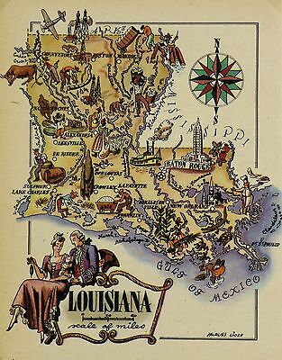 Louisiana Antique Vintage Pictorial Map