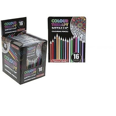 16pc Colour Therapy Metallic Professional Artist Colouring Pencils in Tin