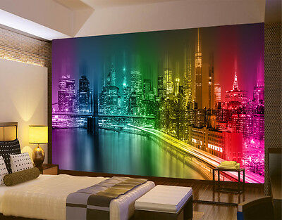 HQ Wall Mural NEW YORK CITY NIGHT SKYLINE MULTICOLOUR Photo Wallpaper Room 104