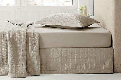 NEW Sheridan Hamu Quilted Bed Skirt - Buff