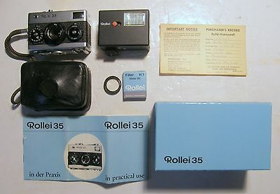 Rollei 35 40mm, Germany, Casl Zeiss Tessar Lens w/accys