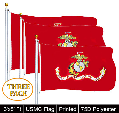 G128® THREE PACK USMC United State Marine Corps Flag 3 X 5 With Brass Grommets