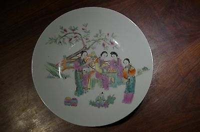 Chinese Porcelain Ladies Painted Famille Rose Plate Guangxu Marked