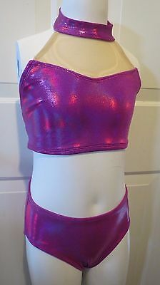 Custom Dance Costume 2 piece with Briefs Hot Pink and Mesh Medium Child