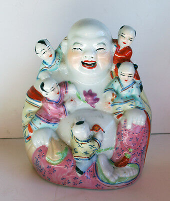 Vintage Chinese Famille Rose Porcelain HAPPY BUDDHA  With 5 Children  Signed