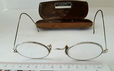 Vintage Round Shuron Eyeglasses,Cable Wire Temples Spectacles w/ Hard Case (A)