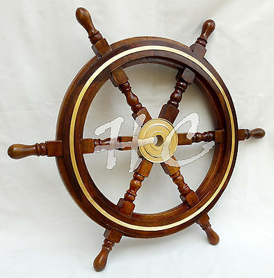 """24"""" Captain's Wooden Ship Steering Wheel With Brass Ring Nautical Sailing Decor"""