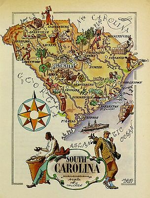 South Carolina Antique Vintage Pictorial Map
