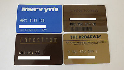 Lot of 4 Vintage Credit Cards from Department Stores