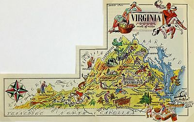 Virginia Antique Vintage Pictorial Map