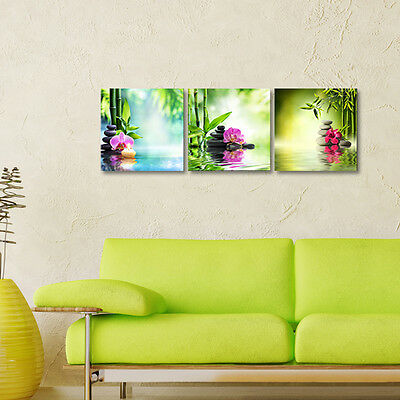 Canvas Art Print Pic Painting Home Decor Landscape Bamboo Zen Green Framed