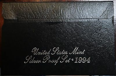 1994 Silver Proof Set Coins United States Mint Box and Certificate of Authentity