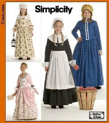 PATTERN toSew Colonial Pilgrim costume dress Simplicity 3725 Patriot Hat sz 7-14