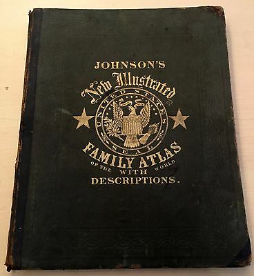 Antique 1864 Johnson New Illustrated Family Atlas Map Book Indian Civil War Era