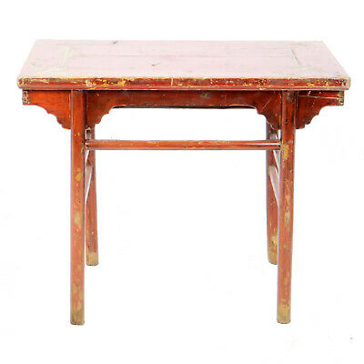 """Antique Chinese Asian 40"""" Wide x 33"""" Tall Red Lacquer Wine Hall Side Altar Table"""