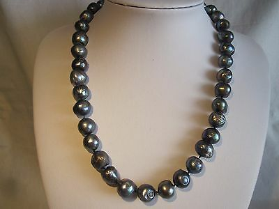 Stunning Unique 14K Gold Huge Genuine Cultured Keshi Black Pearl Necklace Estate